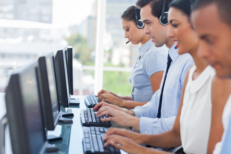Equipo de un call center.